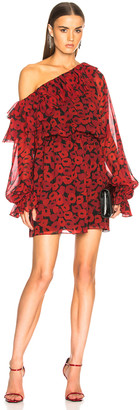 Saint Laurent Georgette Poppy Print One Shoulder Dress in Black & Red | FWRD