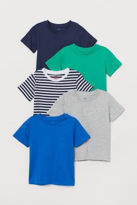 H&M 5-pack Cotton T-shirts - Blue