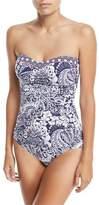 Tommy Bahama Paisley Paradise Shirred Bandeau-Neck One-Piece Swimsuit