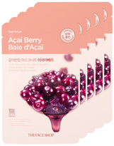 The Face Shop Real Nature Acai Berry Face Mask - Vitamin Enriched (5 PK)