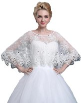 Yxjdress Women's White Lace Bead Wedding Shawls Wraps Cape For Formal Dresses