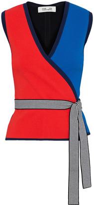 Diane von Furstenberg Kandy Color-block Stretch-knit Wrap Top