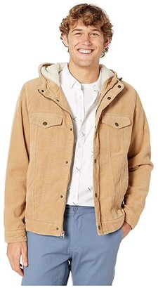 Levi's Corduroy Two-Pocket Hoodie with Sherpa (Tan) Men's Clothing