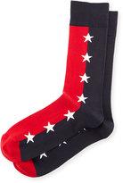 Jonathan Adler Star-Print Colorblock Socks, Blue/Red