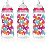 NUK Orthodontic Bottle, Butterflies, 10 Ounce, 3 Count by