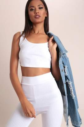 I SAW IT FIRST White Basic Ribbed Crop Tank Top