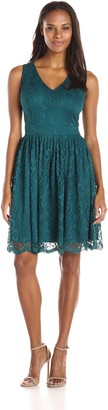 Julian Taylor Women's Sleeveless Lace V Neck Dress