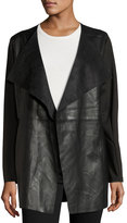 Neiman Marcus Faux-Leather Long Jacket, Black