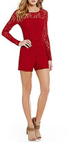 1 STATE Round Neck Long Sleeve Solid Lace Romper