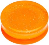 Body Candy Orange Neon Acrylic Glitter Saddle Plug (1 Piece) 26mm