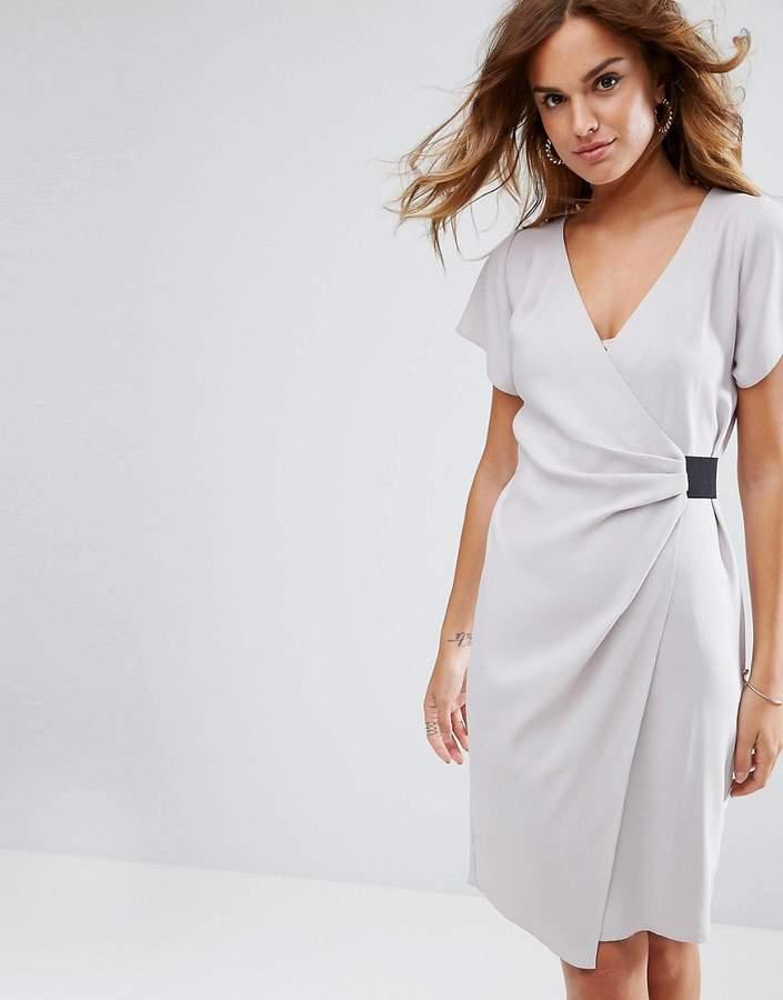 Asos Design Drape Front Midi Pencil Dress with Elastic Detail