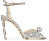 Jimmy Choo SACORA 100 Nude Suede Sandals with Hotfix Crystals and Sphere Detail