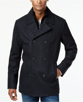 Kenneth Cole Men's Robert Pea Coat with Rib-Knit Bib
