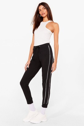 Nasty Gal Womens Blurred Lines Relaxed Side Stripe Joggers - Black - 8