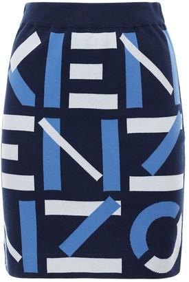 Kenzo Monogram Cotton Blend Knit Mini Skirt