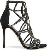 Sergio Rossi Royal Crystal-Embellished Laser-Cut Suede Sandals