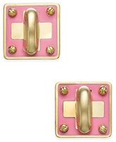 Marc by Marc Jacobs Gold-Tone Colored Enamel Turnlock Stud Earrings