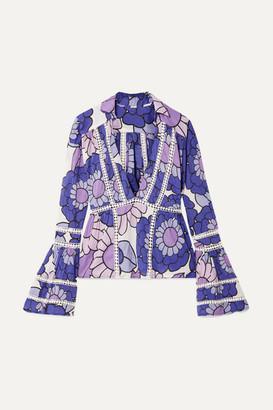Dodo Bar Or Enid Floral-print Cotton-voile Blouse - Purple
