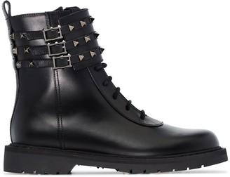 Valentino Garavani Rockstud flat combat boots