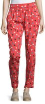 See by Chloe Pleated-Front Heart-&-Dot-Print Pants, Red/Multi