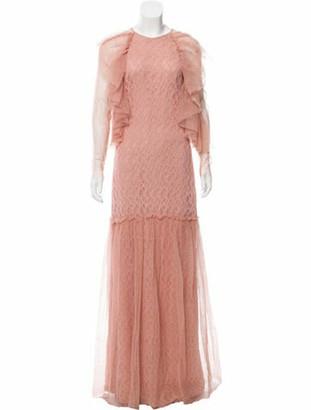 Sandra Mansour Lace Evening Dress Mauve