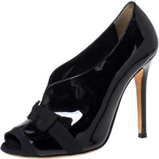 Dolce & Gabbana Black Patent And Grosgrain Bow Peep Toe Pumps Size 38