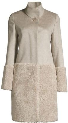 Cinzia Rocca Faux Fur-Blocked Wool Coat