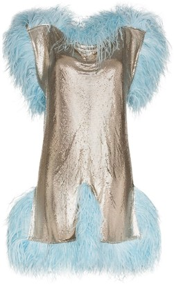 Christopher Kane Feather-Trimmed Mini Dress