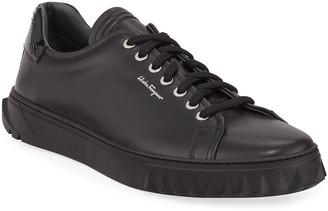 Salvatore Ferragamo Men's Cube Low-Top Leather Sneakers