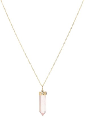 Sydney Evan 14kt Gold And Rose Quartz Necklace With Diamonds