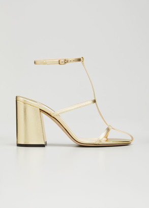 Jimmy Choo Linley Metallic T-Strap Sandals