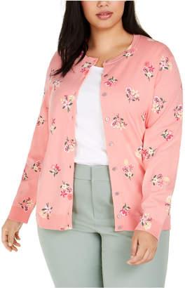 Karen Scott Plus Size Floral-Print Cardigan