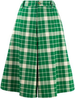 MM6 MAISON MARGIELA checked wide-leg shorts