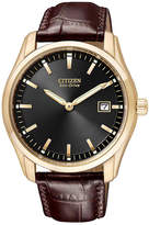 Citizen Men's Eco-Drive Brown Leather Strap Watch 40mm AU1043-00E