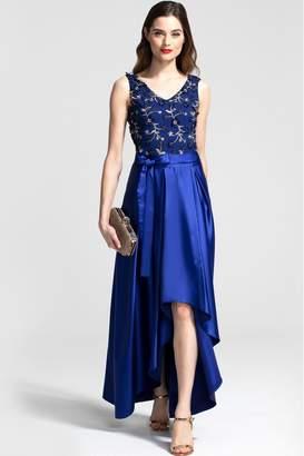 Hot Squash Womens HotSquash V-Neck Maxi Dress With Silky High Low Skirt - Blue