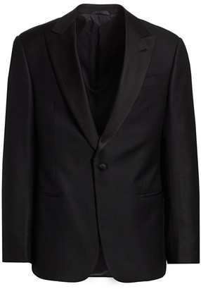 Giorgio Armani Jacquard Satin Lapel Single-Breasted Wool Blazer