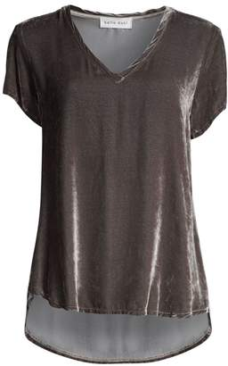 Bella Dahl Velvet Stretch-Silk V-Neck Tee