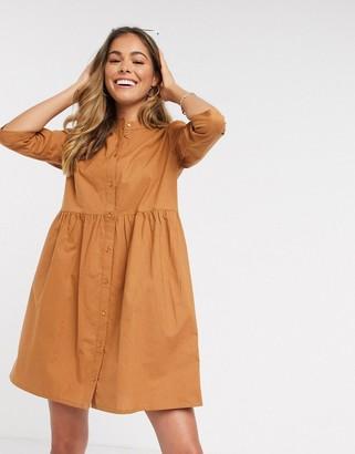 JDY ulle 3/4 sleeve skater shirt dress in brown