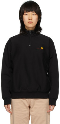 Carhartt Work In Progress Black American Script Half-Zip Sweatshirt