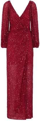 Jenny Packham Ida Cold-Shoulder Sequin Gown