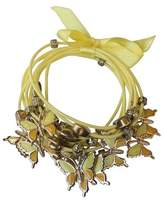 Zirconite Multi-Strand Bracelet with Butterfly Charms - Yellow