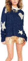 Wildfox Couture Heart N' Starz Teen Dream Sweater - After Midnight Navy - M