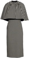 Gucci Houndstooth Wool-Blend Cape Sheath Dress