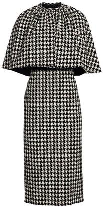 Gucci Houndstooth Wool-Blend Cape Sheath Dress