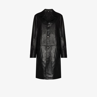 Sunflower Single-Breasted Leather Coat