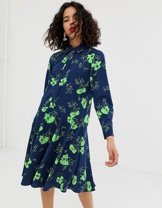 Asos printed flower button through dress-Navy