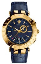 Versace 'V-Race GMT' Round Leather Strap Watch, 46mm