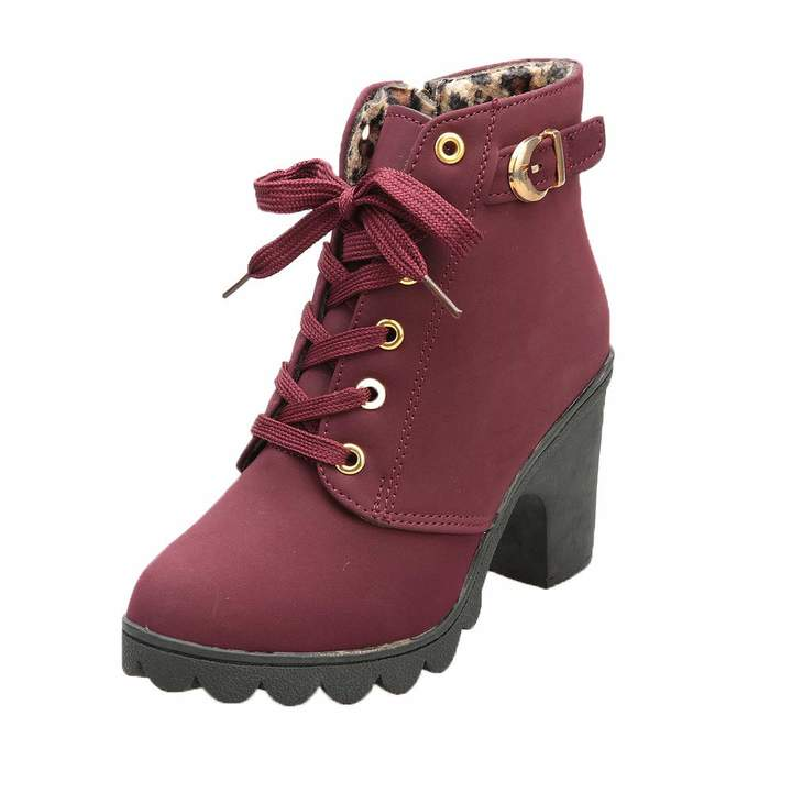 0296a7c263694 Aritone - Women Shoes Womens Buckle Strap Ankle Boots - Ladies Sexy High  Heel Chunky Platform Lace Up Dress Booties Shoes