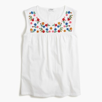 J.Crew Embroidered-yoke cotton tee