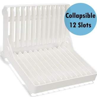 Hk Collapsible Dish Drying Rack Drainer Foldable Plate Holder Storage 12 Slots